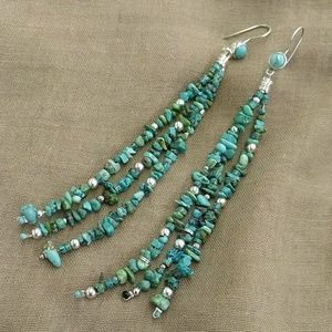 Silver and turquoise shoulder duster earrings